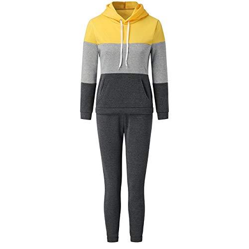 GHC Pantalones de Yoga y Pantalones de Fitness, Otoño Invierno Mujeres de Dos Piezas de paño Grueso y Suave de Color a Juego Set de Dos Piezas suéter Mujeres Que activan chándal