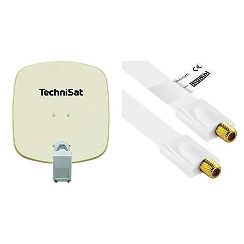 TechniSat DIGIDISH 45 – Satelliten-Schüssel für 2 Teilnehmer (45 cm kleine Sat Anlage) beige & mumbi 30cm Fensterdurchführung für Sat Kabel (F-Kupplung auf F-Kupplung) extrem flach - weiß