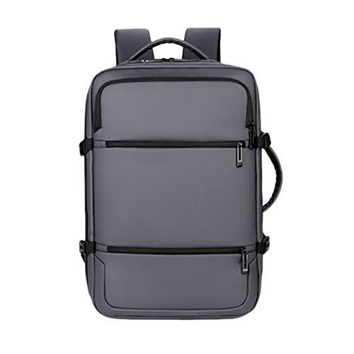 VANOLU Commuting - Mochila multifuncional USB impermeable para estudiantes, viajes de negocios, para hombre, color gris