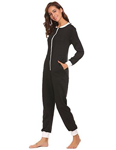 Schlafoverall Jumpsuit Damen Overall Pyjama Onesie Einteiler Lang Strampler Kuschelig Schlafanzug Nachtwäsche Langarmshirt Playsuit mit Reißverschluss - 3