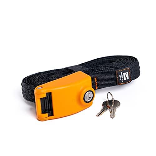 MURTRA – Lock Strap – Kit de 2 hebillas de amarre con cerradura de seguridad y correas armadas. Longitud 5 m, ancho 25 mm, color negro, resistencia de cada correa 250 kg.