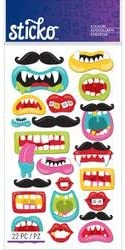 Sticko Stickers Bulk Buy (6-Pack) Classic Stickers Funny Mouths and Mustaches E5201246
