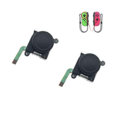 Xingsiyue Analog Joystick Bar for Nintendo Switch Joy-Con - Replacement Left/Right Analog Joystick Rod with Cap (2PCS Black)