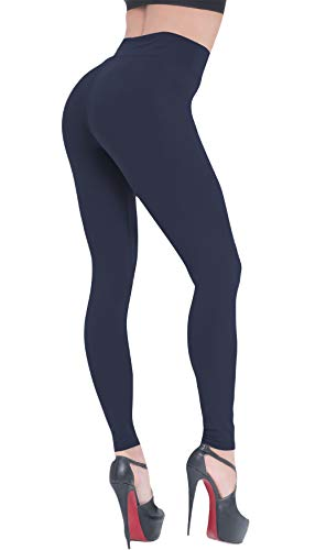 Beelu Damen Leggings Lange Hohe Taille Leggins Frauen Weich Blickdicht Pants Kompressions Hosen,1er Pack/Marine,Einheitsgröße