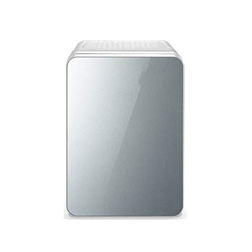Mini Frigorífico, 10L Mini Refrigerador Refrigerador Y Calentador, Refrigerador De Maquillaje Con Puerta De Panel De Vidrio 12V DC O 220 V AC Entrada Dual Silenciosa Termoeléctrica Silen(Color:blanco)