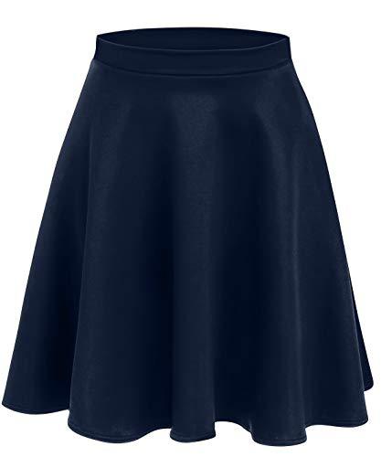 Navy Blue Skirts for Women Elastic Waist Skirt High Waisted Pleated Skirt Skater Skirt Navy Skirt (Size X-Large, Navy)