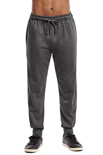 Sweatpants - Men's Active Basic Soft Stretch Terry Workout Jogger Pants Sweatpants with Pockets (L, Charcoal)