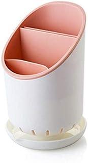 منظم ادوات المائدة البلاستيكي المحمول على الدرج، حامل ادوات تجفيف لاغراض المطبخ والاغراض وتخزينها وتصريف الماء منها على طا...