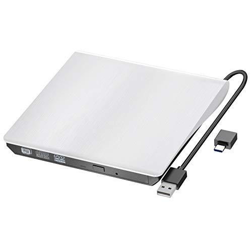 External CD DVD Drive, USB 3.0 Type-C Portable CD/DVD+/-RW Drive/DVD disc Player for Laptop Slim CD ROM Burner Compatible with Mac Laptop Desktop PC Windows XP/2003/ Vista/7/8/10 Linux OS (White)