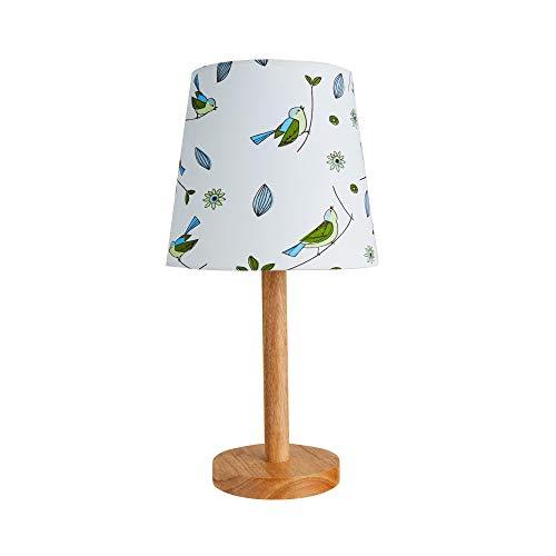Pauleen 48036 Cute Bird tafellamp max. 20 W tafellamp voor E27 lampen kinderkamerlamp vogel groen blauw stof/hout zonder lampen, wit