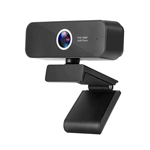 Webcam with Built-in Microphone Autofocus ZUODUN 1080P HD Plug & Play USB Webcam with Privacy Cover for Livestream Gaming Video Calling Online Lessons, Home & Office (Black)