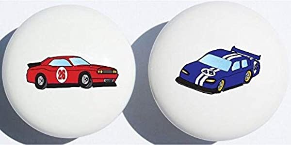 Red And Blue Stock Race Car Drawer Pulls Race Car Childern S Nursery Decor Ceramic Drawer Knobs