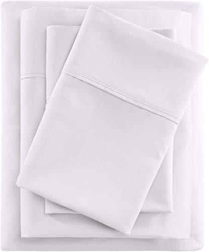 Luxury King Bed Sheet Set 4 Piece King Size Sheet Set, 100% Cotton Sheets, Best Cotton Bed Sheets for Bed, Sheets Set Fits Mattress Upto 16'' Deep Pocket White Solid