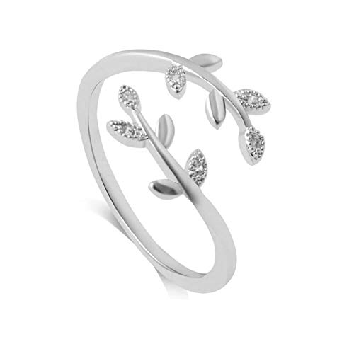 ADICOM Grow Through What You Go Through Adjustable Leaf Ring Opening Diamond Vine Delicate Leaves Ring Index Finger Joint Ring Open Ring Jewelry Gift for Girl Women (Sliver)