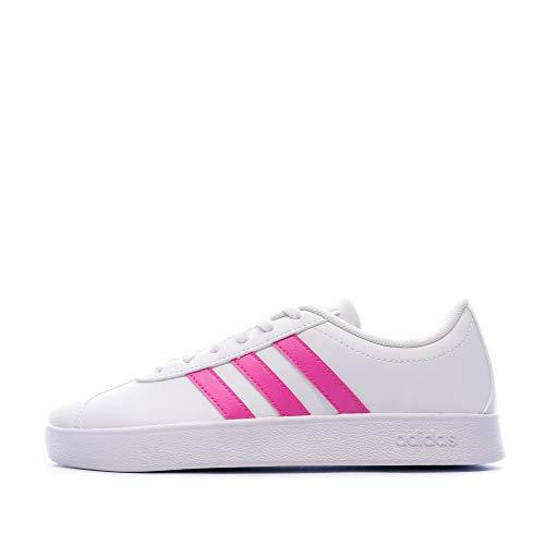 adidas VL Court 2.0 K, Sneaker da Skateboard Bambini Unisex-Bimbi 0-24, Bianco Rosa, 33 EU