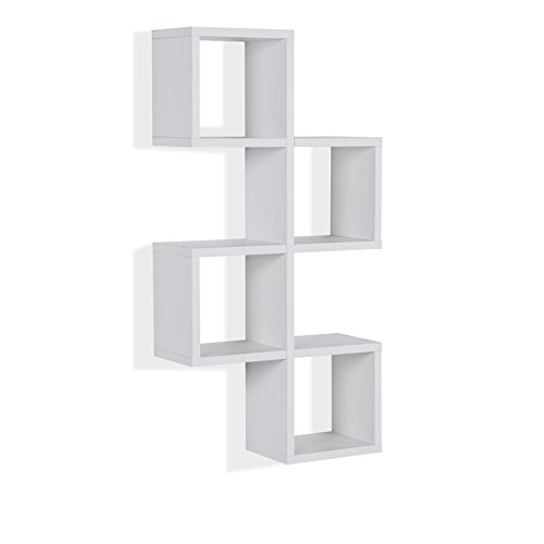Danya B. XF160707WH Decorative Floating Wall Mount Cube Chessboard Wall Shelves - White