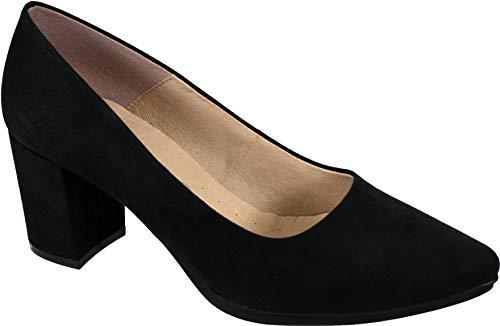 WUAPAS 4703 - Zapato Mujer Salón Stiletto Tacón Ancho 6 cm. (39...