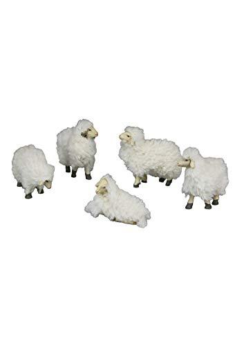 Unbekannt NWS13 5 Teiliges Wollschaf-SetKrippentiereKrippenfigurenWeihnachtsfiguren, weiß, 13 cm