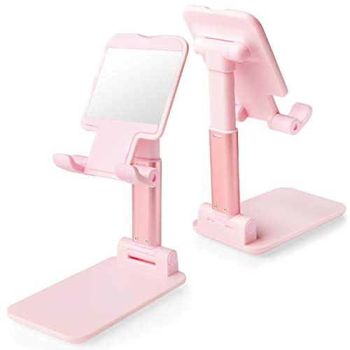 Cell Phone Stand, Tablet Holder, WATACHE Height Adjustable Aluminum Mount Dock Cradle for iPhone Samsung, Tablet, iPad, Nintendo Switch, Kindle, Great for Facetime& Recipe Reading,Pink