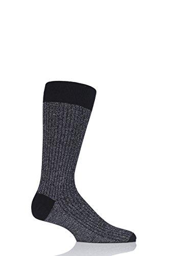 Pantherella Herren 1 Paar Scala Kaschmir-Mischung funkeln gerippte Socken - Schwarz 44-46