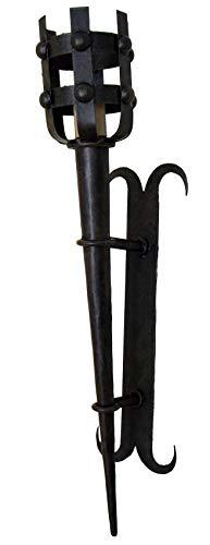 Aplique antorcha de forja medieval grande.