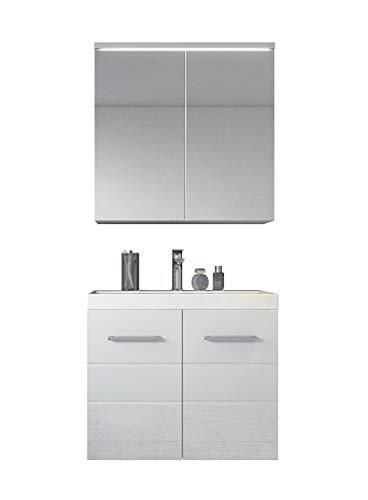 Badezimmer Badmöbel Set Toledo 02 60cm Waschbecken Hochglanz Weiß - Unterschrank Schrank Waschbecken Spiegelschrank Schrank