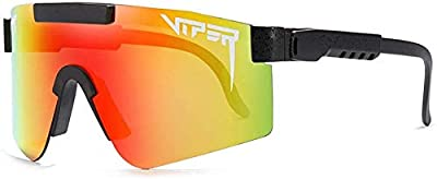 Pit Viper Sunglasses UV400 Polarized Cycling Glasses for men and women Outdoor Running Baseball Golf Sports Sunglasses (Red)
