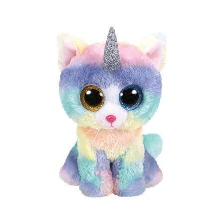 Ty – Beanie Boo's – Peluche Heather el Gato Unicornio TY36454, Multicolor, 23 cm