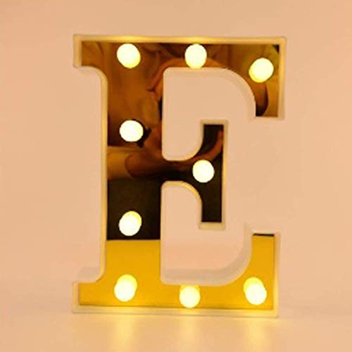 Unishop Letras con Luces LED para Decorar Cumpleaños, del A al Z y & Iluminación para Eventos y Fiestas, Decoración Bonita de Habitación (E)
