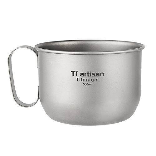 Lixada 500ml Titanium Kaffeetasse aus reinem Titan, Φ105 * 70mm, 62g, Tragbarer Wasser Becher mit Aufbewahrungsbeutel für Outdoor Camping, Wandern