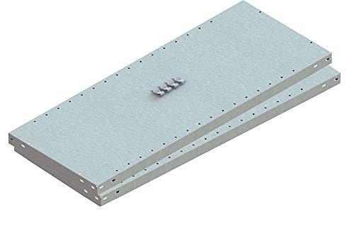 META 1370011 Lagerregal, Clip Set 230, 2 Zusatzböden 1000 mm x 500 mm, Verzinkt