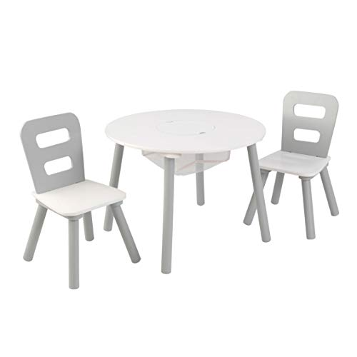 KidKraft 26166 Round Table and Chair Set, White/Gray