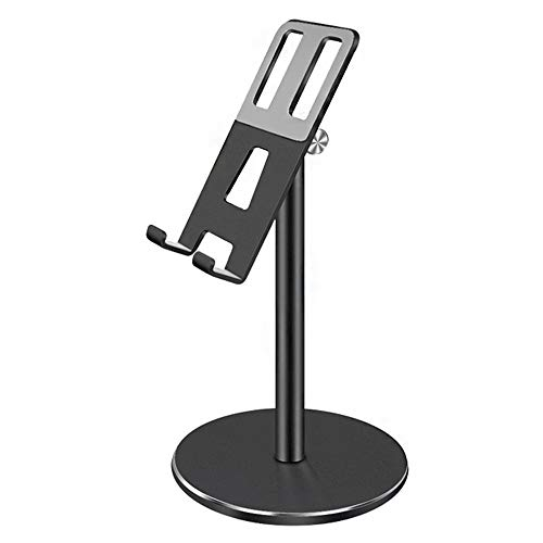 Yzbtj Height Adjustable Cell Phone Stand Holder, 360 Degree Rotating Desktop Aluminum Alloymount Tablet Cradle Compatible with Phones/Ipad/Tablets/Switchs/Kindles/Ebook Reader,Black
