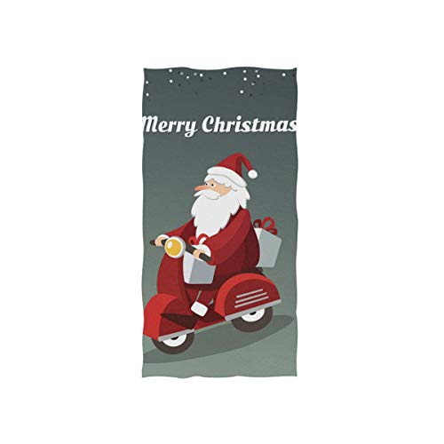 MNSRUU Santa Claus Driving Scooter Hand Towels for Bathroom, Gym, beach and Spa