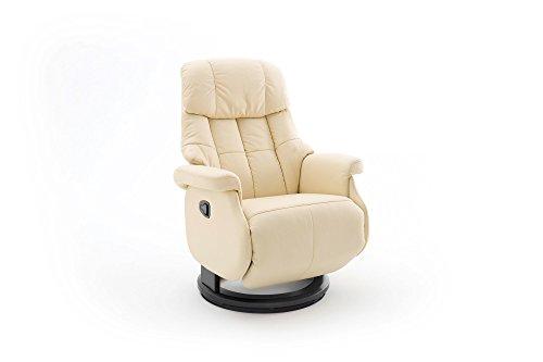 lifestyle4living Relaxsessel in Beige, Echtleder, Gestell 360° drehbar Natur Schwarz | Perfekter Sessel mit Relaxfunktion für entspannte Abende