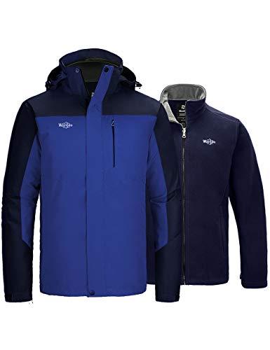 Wantdo Men's 3 in 1 Ski Jacket Waterproof Windproof Fleece Jacket Blue X-Large