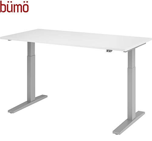 bümö® elektrisch höhenverstellbarer Schreibtisch DIY (ohne Tischplatte) in Silber mit Kollisionsschutz & Sanft-Start/Stopp
