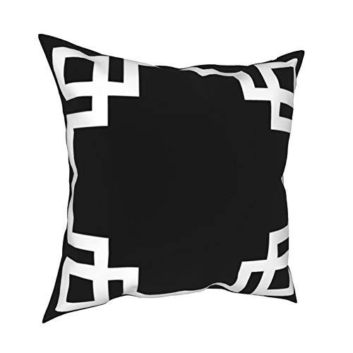 Fundas de cojín decorativas para sofá, dormitorio, coche, con cremallera invisible, color blanco y negro