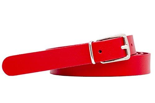 Echtledergürtel Ledergürtel 2cm Breite Deutsche Qualität Bundweite 75cm bis 115cm Überlänge Sondergröße Gürtel Leder Herren Damen Farben Muster Motive Belt Buckle Leather Belt Real Leather Genuine BW 75-115 schwarz weiß braun rot Damengürtel Herrengürtel schmaler Jeans (95cm, rot)