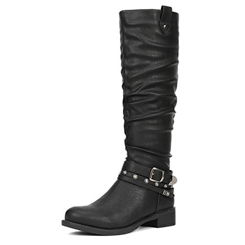 DREAM PAIRS Women's Stand Black Knee High Boots Size 9.5 B(M) US