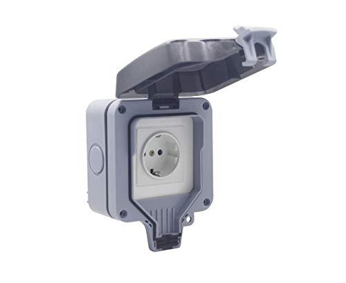 InteHome Enchufe inteligente con WiFi, enchufe Schuko, resistente al agua IP66, 1 enchufe, mando a distancia, compatible con Alexa IFTTT, montaje en pared (1, 1)