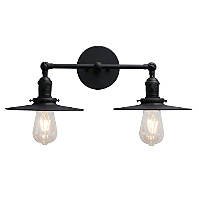 Phansthy 2 Light Industrial Wall Sconce Double Sconce with 7.87 Inches Lampshade