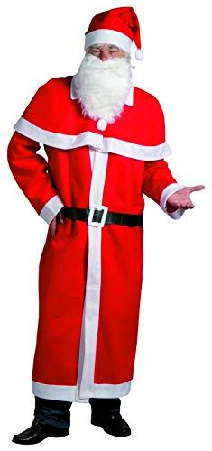 Idena 8580108 - Weihnachtsmann Kostümset, Santa, Nikolaus, Mütze, Bart, Mantel, Gürtel, Cape
