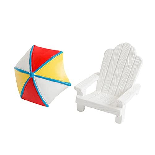 Toddmomy 2 Piezas Playa Zen Jardín Decoración Mini Silla Sombrilla Sandbox Accesorios Náuticos Miniatura Casa de Muñecas Kits de Ornamento para DIY Jardín de Hadas Planta Pastel Decoración