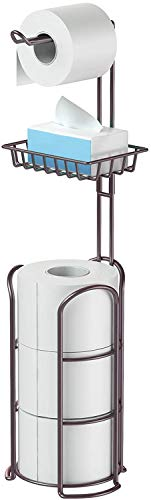 Toilet Roll Holder Free Standing,Toilet paper holder stand with Shelf,...
