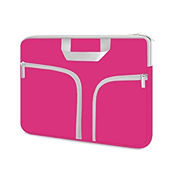 HESTECH Chromebook Case,11.6-12.3 Laptop Sleeve Neoprene Computer Handbag Protective Cover for Acer R11/Spin 311/HP Stream/Samsung/Surface X/7/6/5/4/3/Go 12.4 /13 inch MacBook Air/Pro M1,Hot Pink