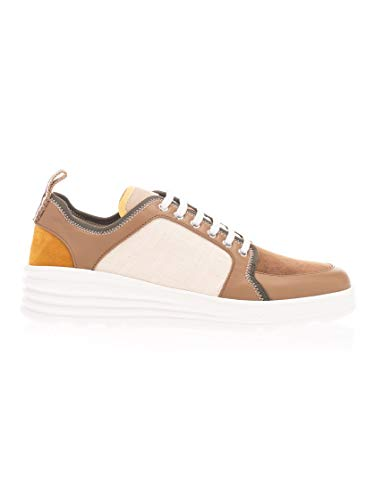 FENDI Luxury Fashion Herren 7E1345AAWYF19NZ Beige Leder Sneakers | Frühling Sommer 20