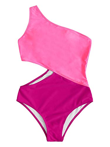 SweatyRocks Women's Bathing Suits One Shoulder Cutout One Piece Swimsuit Swimwear Monokini Pink X-Large