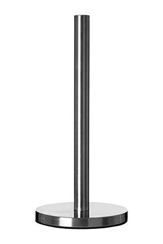 Premier Housewares Portarotolo da Cucina in Cromo con Base Tonda, altezza 32 cm