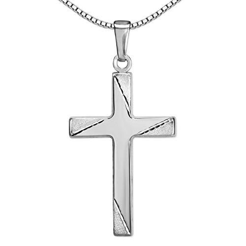 Clever Schmuck Set Silberne Halskette Kreuz 21 mm Kreuzenden matt 4 Zierlinien diamantiert & Kette Venezia 45 cm Sterling Silber 925 Kreuzkette Silberkreuz im Kreuz-Etui creme